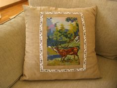 cushion with vintage embroidered piece. Embroidery cut out of a big wall hanging. http://ada-countrylife.blogspot.com http://artsandcrafts.gr/el/user/ada-s-country-life/