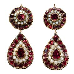 Georgian Garnet & Pearl Earrings, c. 1820