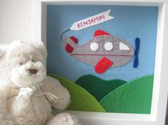 CIJ  10 Off Nursery Decor Felt Airplane Picture by GracesFavours, £35.00