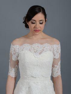 wedding dress boleros   Off-Shoulder Alencon Lace Bridal Bolero Wedding jacket shrug WJ008