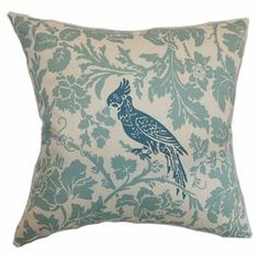 """Cotton pillow with bird and branch motif.  Product: PillowConstruction Material: Cotton and down fillColor: BlueFeatures:  Insert includedHidden zipper closureMade in the USA Dimensions: 18"""" x 18""""Cleaning and Care: Spot clean"""