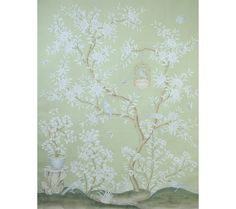 SY-214 : Handpainted Chinese scenic panel created in the same manner as those produced in the 18th and 19th centuries. Inspired by 18th century and production techniques on a pieced and antiqued ground. Two panels shown