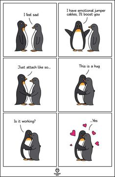 Emotional jumper cables - Penguin Funny - Funny Penguin meme - - Emotional jumper cables Get More The post Emotional jumper cables appeared first on Gag Dad. Penguin Meme, Penguin Art, Penguin Quotes, Happy Penguin, Penguin Tattoo, Funny Animals, Cute Animals, Cute Penguins, Cute Comics