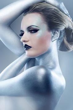 Essential information for your entertainment and success. Blue And Silver, Silver Color, Futuristic Makeup, Metallic Bodies, Body Makeup, Silver Lockets, Silver Buttons, Silver Lining, Color Of Life