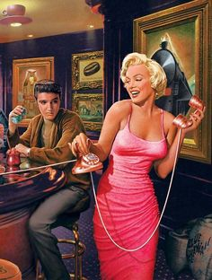 Elvis & Marilyn who never met in person.  This is only part of a drawing by Chris Consani ©