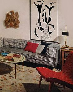 Here we take a look at 1950′s interior design with it's clean lines, minimalism and unexpected colors like pastels that were heavily used in latter part of the decade. Description from artnectar.com. I searched for this on bing.com/images