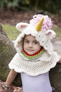 Unicorn Hooded Cowl crochet pattern. Great for little princesses!