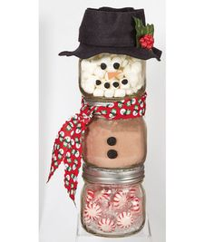 Ball Jar Snowman from @joannstores   DIY this jar gift with supplies from joann.com   Peppermint Hot Chocolate Jar Gift   Last minute gift ideas