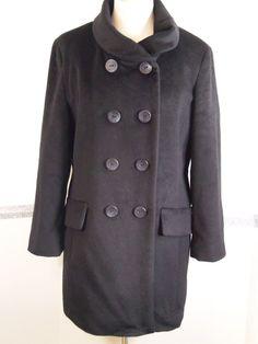 Womens Calvin Klein Coat size 14 Wool Blend Black  #CalvinKlein #Peacoat