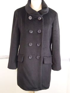 Womens Calvin Klein Coat size 14 Wool Blend Black  #CalvinKlein #Peacoat