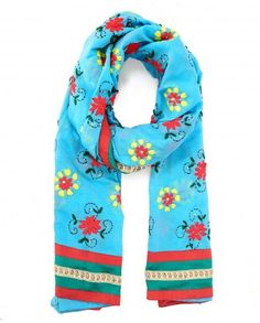 Aqua Blue Phulkari Stole with Yellow and Red Flowers