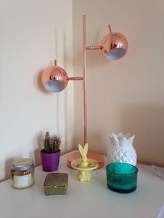 Starkey Table Lamp, Grey and Nickel   made.com