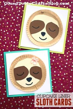 Glued To My Crafts - Don't be a slow-poke! Come check out our latest kid craft idea titled Cupcake Liner Sloth Cards and recreate a few for your friends today! It's the perfect handmade card for any occasion! Valentine's Day Crafts For Kids, Animal Crafts For Kids, Toddler Crafts, Preschool Crafts, Projects For Kids, Diy For Kids, Kid Crafts, Crafts Cheap, Preschool Colors