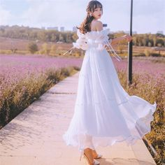 Buy Pantho Off-Shoulder Elbow-Sleeve Maxi A-Line Dress Mode Ulzzang, Ulzzang Girl, Korean Fashion Dress, Fashion Dresses, Pretty Dresses, Beautiful Dresses, Girl Outfits, Cute Outfits, Workwear Fashion