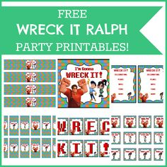 FREE WRECK IT RALPH PARTY PRINTABLES  #wreckitralph #party