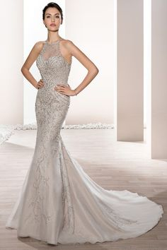 Demetrios Wedding Dress -Style 693 : Glimmering with crystals and beaded embroidery over tulle, this form fitting sheath with sheer high halter neckline and dramatic sheer back with buttons is the epitome of old world glamour. Wedding Dress Pictures, Wedding Dresses For Sale, Wedding Dress Styles, Wedding Party Dresses, Designer Wedding Dresses, Bridal Dresses, Wedding Dress Necklines, Dress Attire, Gown Photos