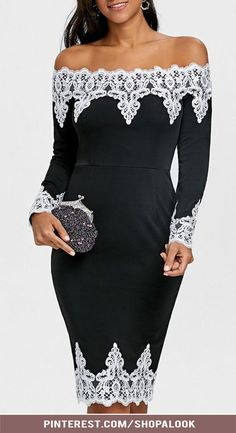 Lace Panel Off The Shoulder Evening Dress #afflink #eveningdresses #womensfashion