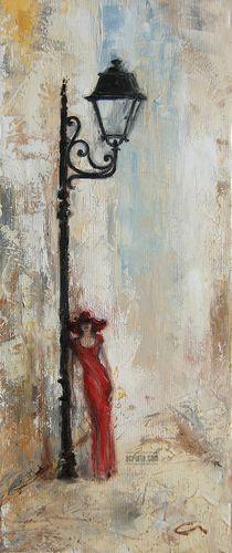 Until Tomorrow, oil, sold #art #canvas #woman #reddress #streetlight