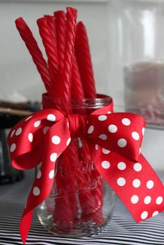 Redvines in a mason jar with a polka dot bow! | One Lucky Girl