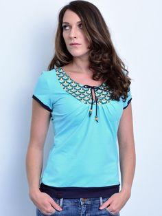 Jersey Shirt - hellblau - Perlen - Kordel von stadtkind potsdam auf DaWanda.com