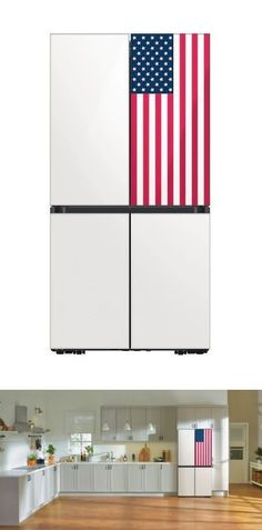 Celebrating its Bespoke home line, Samsung Electronics America has introduced a new, limited edition BESPOKE 4-Door Flex refrigerator featuring stars and stripes design, and white gloss panels. Featuring a customizable and interchangeable front panel design, the refrigerator will be available in counter-depth and standard configurations. Smart Home Appliances, Small Appliances, Best Espresso Machine, Counter Depth, Trendy Home, Stripes Design, Refrigerator, Bespoke, Samsung