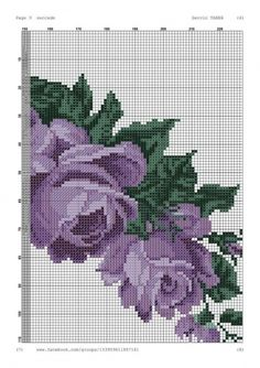 Cross Stitch Rose, Cross Stitch Flowers, Cross Stitch Patterns, Hardanger Embroidery, Hand Embroidery, Embroidery Designs, Prayer Rug, Purple Roses, Blackwork