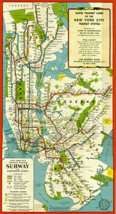 By the post-World War II years, the following map emerges, with bright lines and rich colors, seemingly celebrating what, by that time, was already a New York City icon. New York famously bucked the trend toward more simple subway maps and kept a great amount of geographic detail, at the cost of relative ease of use. Just looking at that tangle of colored lines around Wall Street could be enough to dissuade some visiting passengers from hopping on the next train. Nobody could disagree…