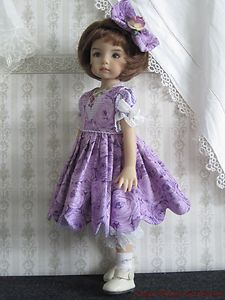 "Purple Roses Set Handmade for 13"" Effner Little Darling 14"" Kish BJD by JEC 