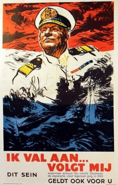 WW2 UK Navy Recruitment propaganda for Holland, 1940s - original vintage poster featuring the Dutch Rear Admiral Doorman listed on AntikBar.co.uk