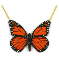 Orange and black monarch butterfly necklace, plastic butterfly fancy... ($50) ❤ liked on Polyvore featuring jewelry and necklaces
