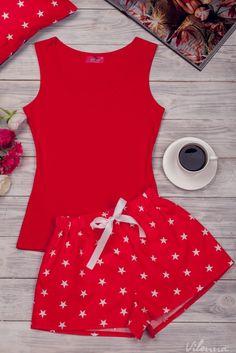 Комплект жіночий для сну та відпочинку • червона майка та червоніз білими зірочками шорти • інтернет магазин • vilenna.ua Cute Pjs, Cute Pajamas, Lingerie Sleepwear, Nightwear, Girl Outfits, Cute Outfits, Night Suit, Pyjamas, Sexy Legs