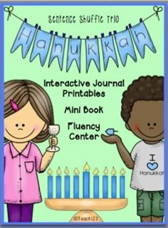 Celebrations Around the World - Hanukkah- Sentence Shuffle Trio - interactive journal printables, mini book for small group lesson, and fluency center.  $