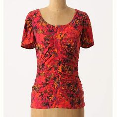 """Anthropologie Molten Blouse A melted melange of sorbet shades spatters this ruched silk-cotton top. From Maple by Some Odd Rubies, the Lower Eastside boutique, designers and vintage revivers.   Side zip  Silk, cotton  Dry clean   24.25""""L  Imported Anthropologie Tops Tees - Short Sleeve"""