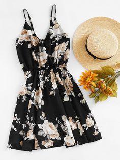 Vestido con estampado floral al azar con escote de estilo sobrepelliz-Spanish Romwe Sitio Móvil