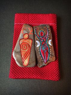 Witches Altar Sea Stone God & Goddess Amulets & Pouch. Hand Painted Pagan Wicca