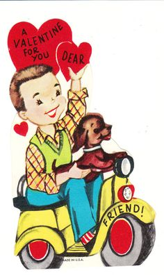 Vintage Valentine - boy on a scooter with his cute dachshund
