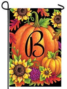Pumpkin Sunflowers Letter B Monogram Garden Flag