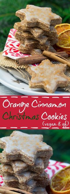 These vegan orange cinnamon Christmas cookies are so delicious and easy to make! You can either use whole wheat flour or make them gluten-free by using oat flour. #christmas #cookies #vegan #glutenfree #cinnamon #oranges #cinnamoncookies #vegancookies