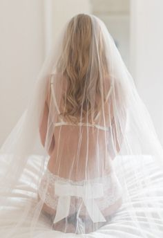 Bridal lingerie and veil from Pompadour Couture Lingerie