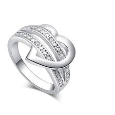 Silver-Color Bling Heart Love Women Wedding Ring