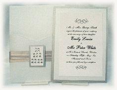 Upscale Wedding Invitations | ... & Crystal Wallet Luxury Wedding Invitation with Ribbon Bellyband