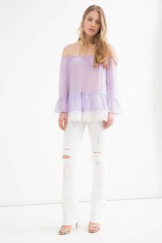 T-shirt a balze con pizzo, Viola lilla