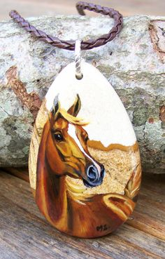 Arabian Horse Hand Painted Pendant Necklace Art Equestrian Jewelry Gift. $55.00, via Etsy.