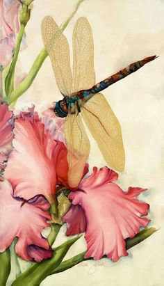 dragonfly Awesome detail in these wings with expert floral to complement it. The green leaves and pink petals are opposites on the color wheel making both prominent in the painting Watercolor Flowers, Watercolor Paintings, Watercolors, Dragonfly Art, Dragonfly Painting, Dragonfly Quotes, Iris Painting, Dragonfly Tattoo, Butterfly Flowers