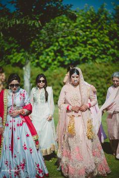 Bridal Wear - The Bride! Photos, Sikh Culture, Cream Color, Bridal Makeup, Bridal Entry, Nath/Nose Ring pictures, images, vendor credits - Aviraj Saluja, Nancy Bhaika, Hair and Makeup by Zareen Bala, WeddingPlz