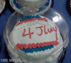 Custom Cakes at Walmart Bakery - Personalized Celebration Cake Fail - Funny Pictures at Walmart Epic Cake Fails, Epic Fail, Walmart Bakery, Bad Cakes, Cooking Fails, Funny 4th Of July, How To Cook Meatballs, Independance Day, 4th Of July Cake