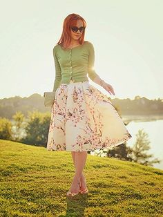 Shop White Sakura Skater Skirt With Pleat from choies.com .Free shipping Worldwide.$13.9