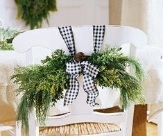 Pretty Idea for decorating the chairs at Christmas.