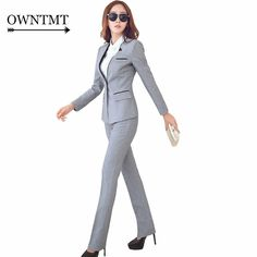 Suit Jacket with Office Pants or Skirt Work Wear Set Business Outfits Women, Business Suits, Buy Suits, Jackets For Women, Pants For Women, Cheap Suits, Slim Suit, Pantsuits For Women, Work Skirts