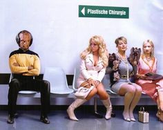 Star Treks Worf waiting for cosmetic surgery